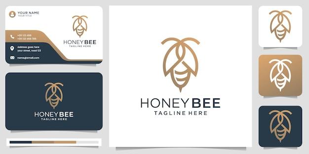 Honigbienenlogo und visitenkarte Premium Vektoren