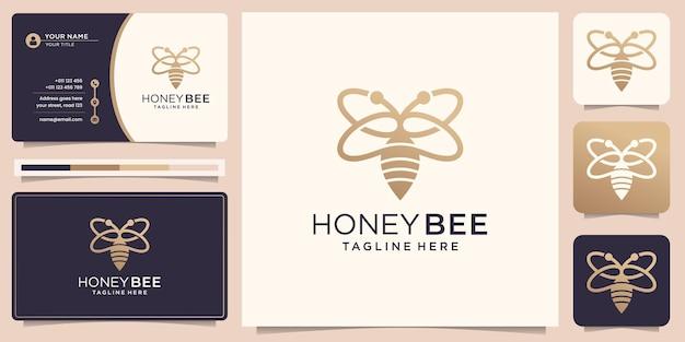 Honigbienenlogo und visitenkarte