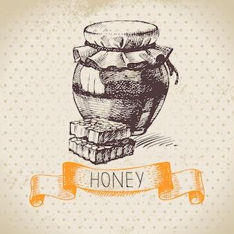 Honighintergrund mit hand gezeichneter skizzenillustration