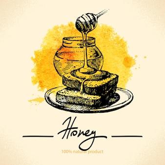 Honighintergrund mit handgezeichneter skizze und aquarellillustration