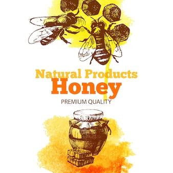 Honighintergrund mit handgezeichneter skizze und aquarellillustrationen. menü- und packungsgestaltung
