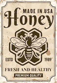 Honigplakat im vintage-stil für produktwerbung
