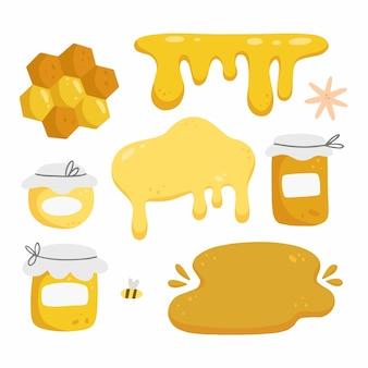 Honigsatz mit elementen im cartoon-gekritzelstil lokalisiert auf weiß