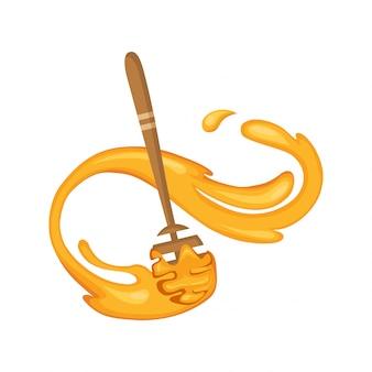 Honigschöpflöffel. holzlöffel für flüssige süße. realistisches traditionelles holzgeschirr. illustration mit sweet flow down honey