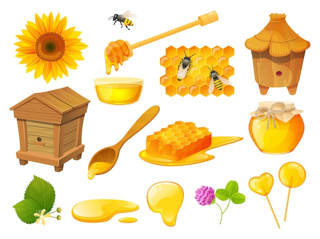 Honigset, imkereiprodukte, bienenstock aus holz, illustration