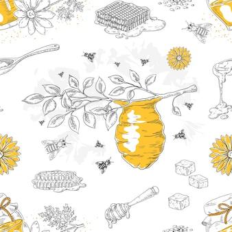 Honigskizzenmuster. hand gezeichnetes nahtloses muster der wabe und des bienenstocks