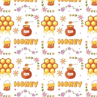 Honigtopf und honigwabe mit süßem muster. baby digitales vektorpapier mit gelben zuckerhonigprodukten