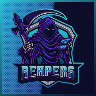 Hood reaper leuchten blau farbe esport maskottchen logo