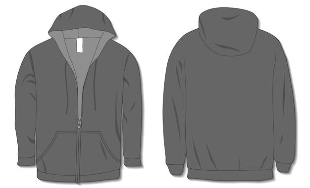 Hoodie jacke mit reißverschluss mockup vorlage