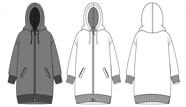 Hoodie kleid mode flache skizze vorlage