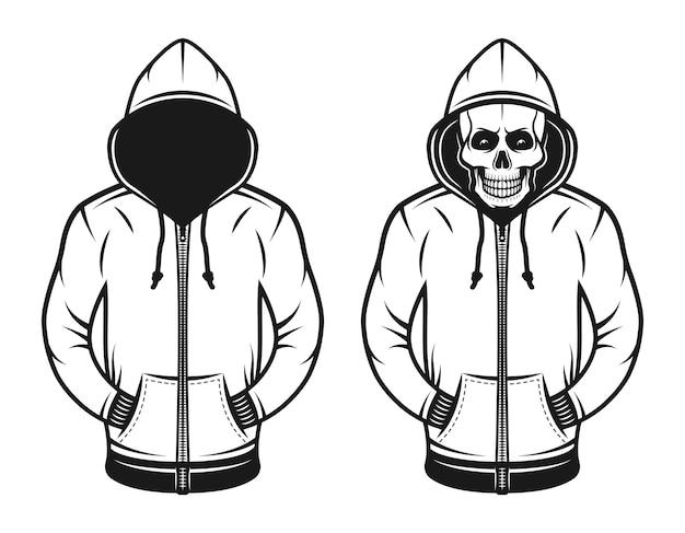 Hoodie mit leerem gesicht und mit totenkopf