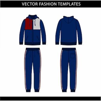 Hoodie und sweat pants mode flache skizze vorlage, jogging-outfit vorne und hinten, sportbekleidung outfit