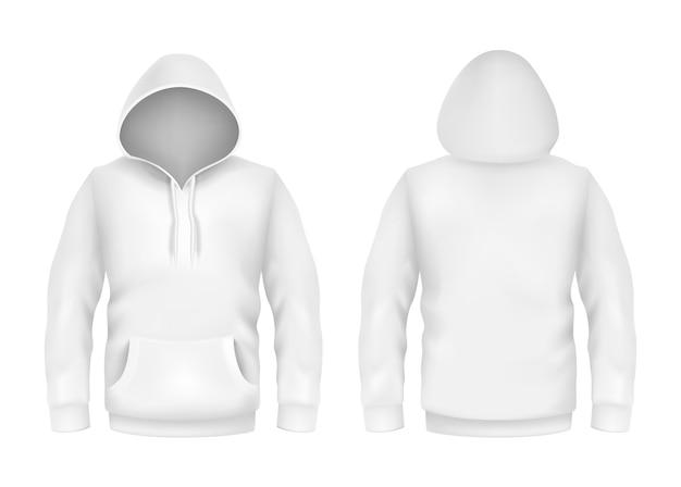 Hoodiesweatshirt-weiß 3d realistische modellschablone auf weißem hintergrund