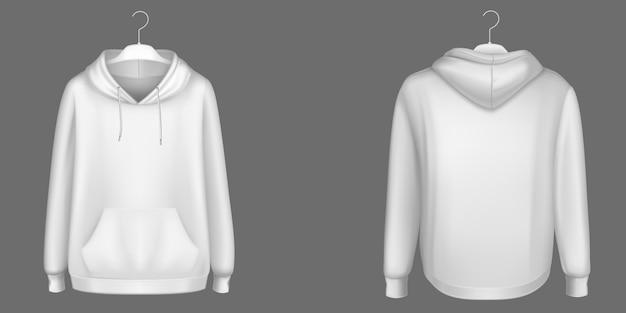 Hoody, weißes sweatshirt auf kleiderbügel verspotten vorder- und rückansicht. isolierter hoodie mit langen ärmeln, känguru-muffentasche und kordelzug. sport, lässige städtische kleidung, realistische 3d-vorlage