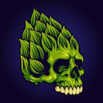 Hop brewery beer skull maskottchen vektorillustrationen für ihre arbeit logo, maskottchen-waren-t-shirt, aufkleber und etikettendesigns, poster, grußkarten, werbeunternehmen oder marken.