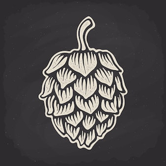 Hopfenkegel-silhouette auf kreidetafel vektor-illustration bierkneipe und symbol für alkoholische getränke