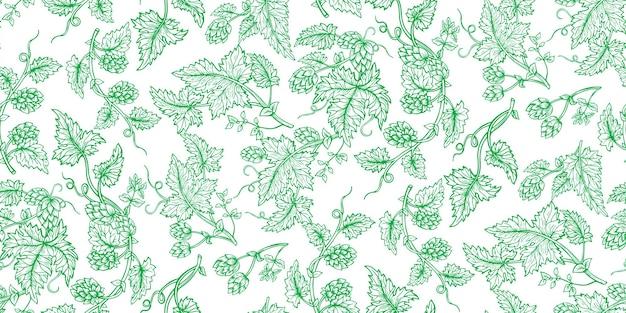 Hopfenpflanze zweig handgezeichnete grüne skizze set. hopfen mit blättern und zapfen im eckigen kräuterdesign gezeichneter gravurstil. skizzen für bierverpackungsdesign-logo, etikett, emblem, verpackung, muster