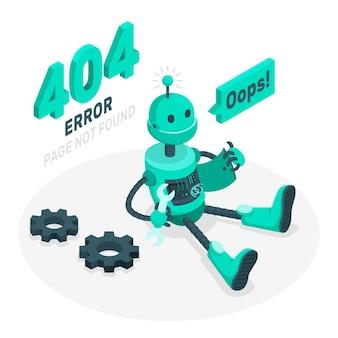 Hoppla! 404 fehler mit einer kaputten roboterkonzeptillustration