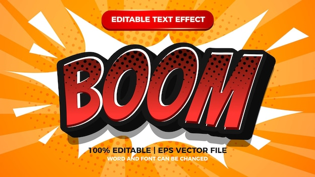 Hoppla, bearbeitbarer comic-texteffekt mit halbtonhintergrund
