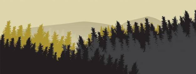 Horizont kiefernwald, herbstsaison.