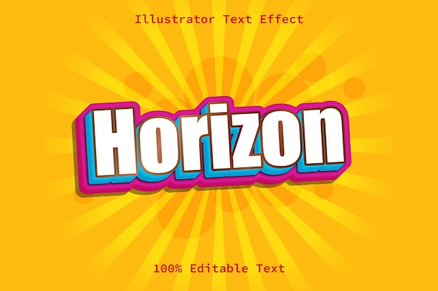 Horizont mit bearbeitbarem texteffekt im modernen comic-stil