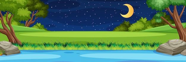 Horizont naturszene oder landschaftslandschaft mit wald flussuferansicht und mond am himmel in der nacht