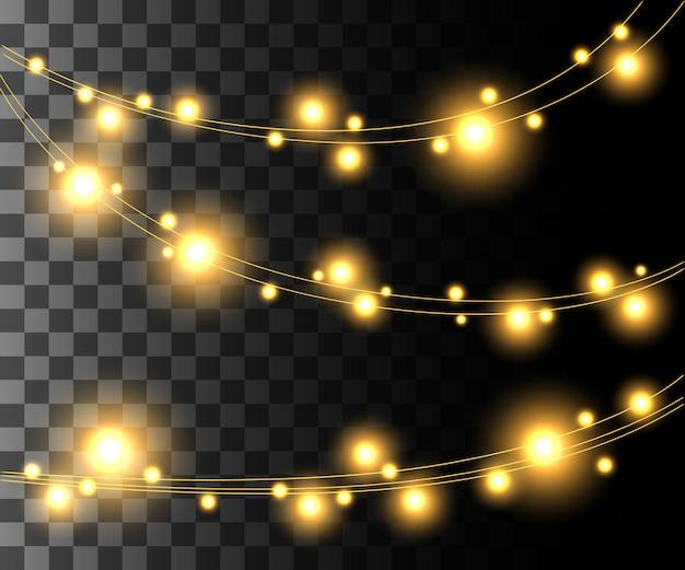 Horizontal leuchtende hellgelbe glühbirnen für feiertagsgirlanden-weihnachtsdekorationseffekt auf dem transparenten hintergrundwebsite-seitenspiel und dem design der mobilen app