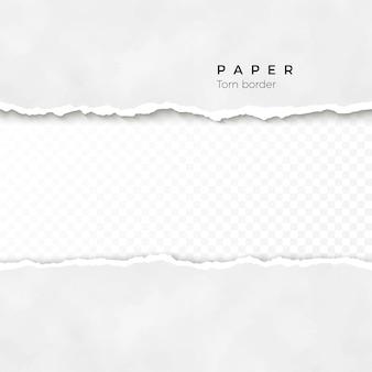 Horizontal zerrissene papierkante. papierstruktur. grob gebrochener rand des papierstreifens. illustration auf transparentem hintergrund
