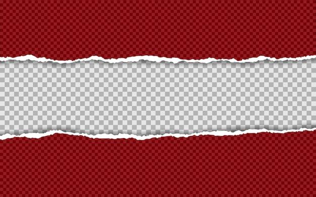 Horizontal zerrissene papierkante. zerrissene quadratische horizontale papierstreifen.