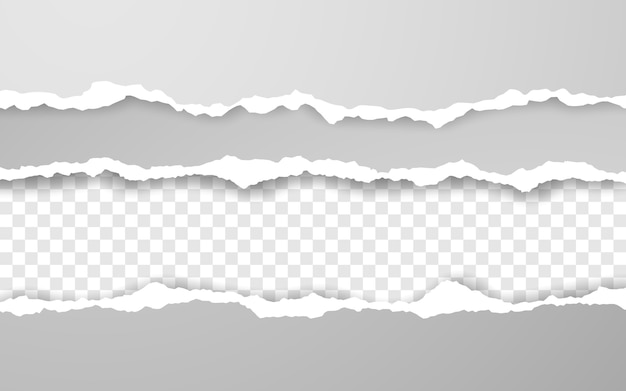 Horizontal zerrissene papierkante. zerrissene quadratische horizontale weiße papierstreifen.