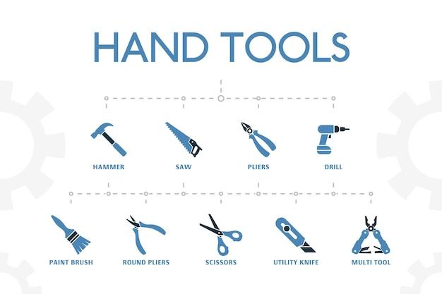 Horizontale 2 farbige handwerkzeuge konzeptvorlage mit einfachen symbolen. handwerkzeugelemente-set, mit hammer-, säge-, zangen-symbolen
