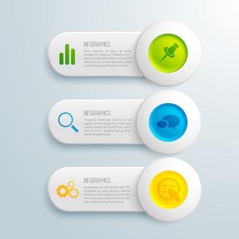 Horizontale banner der infografik-präsentation mit buntem kreistext und symbolen auf grauer illustration