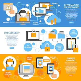 Horizontale banner der informationstechnologien