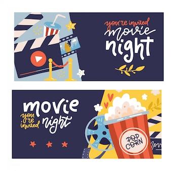 Horizontale banner der kinokarikatur, die mit kinonachtsymbolen gesetzt werden. flache hand gezeichnete illustration mit beschriftungszitaten.
