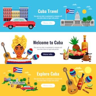 Horizontale banner der kuba-reise, die mit flacher isolierter vektorillustration der landmarkenelemente eingestellt werden