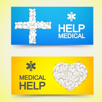 Horizontale banner der medizinischen behandlung mit weißen drogenpillen in form der kreuz- und herzillustration