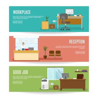 Horizontale banner des büros, die mit dem arbeitsplatzmitarbeiter an der rezeption und der isolierten vektorillustration des guten jobs gesetzt werden