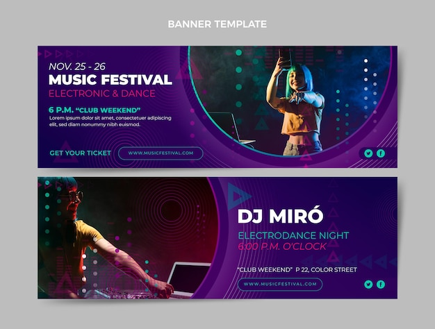 Horizontale banner des farbverlaufs-halbton-musikfestivals