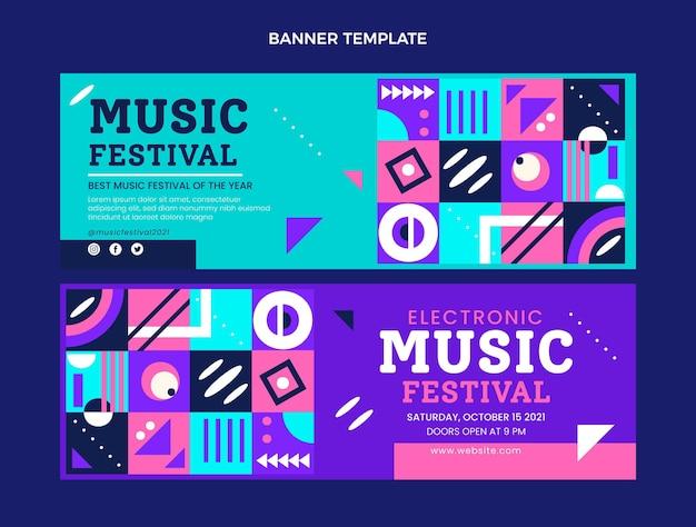 Horizontale banner des flachen mosaikmusikfestivals