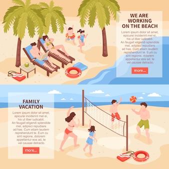 Horizontale banner des isometrischen strandhauses tropischer feiertage, die mit bildern der familienentspannung gesetzt werden