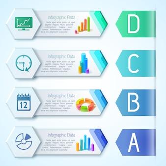 Horizontale banner des modernen infografikgeschäfts mit textdiagrammen, diagrammdiagrammen und symbolen auf sechseckillustration