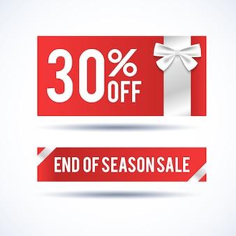 Horizontale banner für den weihnachtsverkauf mit informationen zum ende der saisonalen rabatte