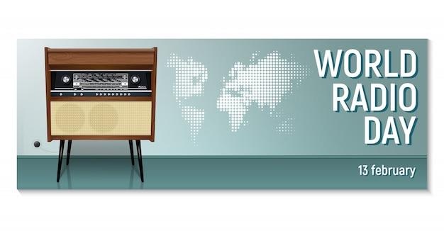 Horizontale banner für den world radio day rigonda