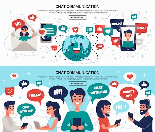 Horizontale banner für elektronische chat-nachrichten