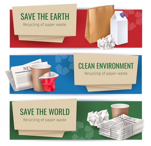 Horizontale banner für müll und abfall, die mit symbolen der sauberen umgebung realistisch isoliert eingestellt sind
