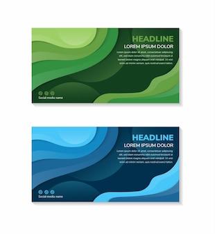 Horizontale banner mit abstraktem blauem und grünem 3d-hintergrund mit papierschnittformen vektordesign