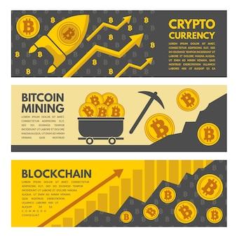 Horizontale banner mit bitcoin-bergbau