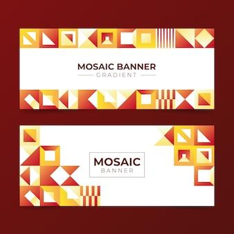 Horizontale banner mit farbverlaufsmosaik