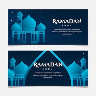 Horizontale banner mit flachem design und ramadan mit blauen details