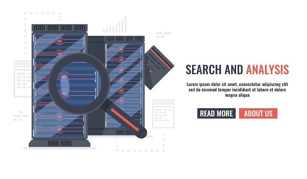 Horizontale banner mit lupe, datei und serverschrank